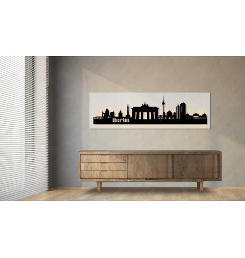Berlin beleuchtet weiß 100 x 25cm