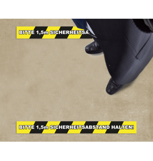 Bodenfolie 70x10cm Abstand halten