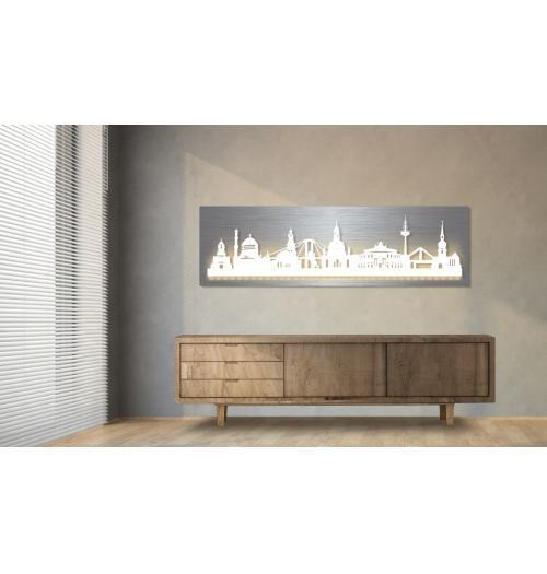 Dresden beleuchtet Edelstahloptik 100 x 25cm