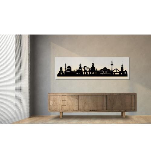 Dresden beleuchtet weiß 100 x 25cm