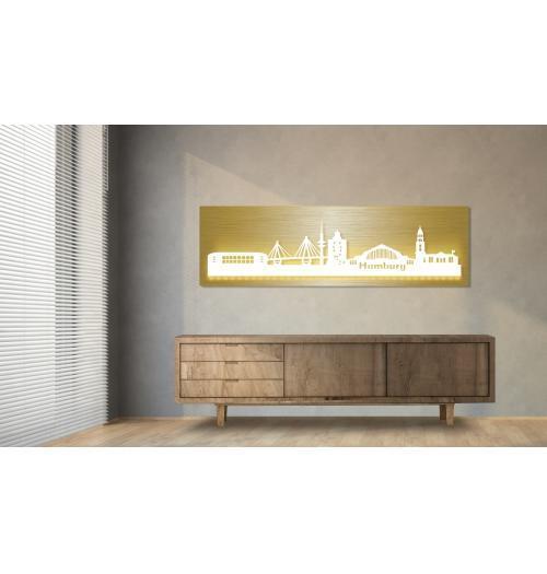 Hamburg beleuchtet Goldoptik 100 x 25cm