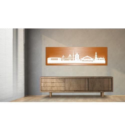 Hamburg beleuchtet Kupferoptik 100 x 25cm
