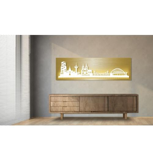Köln beleuchtet Goldoptik 100 x 25cm