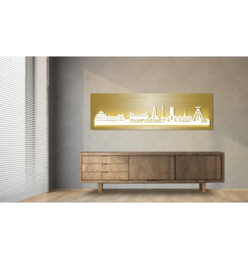 Ruhrgebiet beleuchtet Goldoptik 100 x 25cm