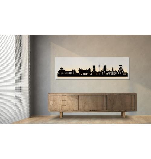 Ruhrgebiet beleuchtet weiß 100 x 25cm