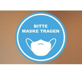 Klebefolie 20x20cm Maske tragen blau