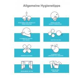 Transparente Hinterglas  Klebefolie Hygienetipps A4