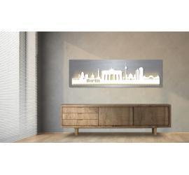 Berlin beleuchtet Edelstahloptik 100 x 25cm