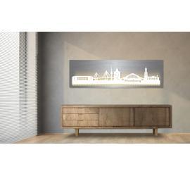Hamburg beleuchtet Edelstahloptik 100 x 25cm