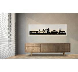 Hamburg beleuchtet weiß 100 x 25cm