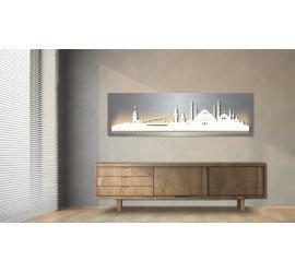 Istanbul beleuchtet Edelstahloptik 100 x 25cm