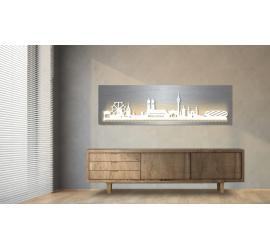 München beleuchtet Edelstahloptik 100 x 25cm