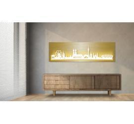 München beleuchtet Goldoptik 100 x 25cm