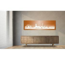 München beleuchtet Kupferoptik 100 x 25cm
