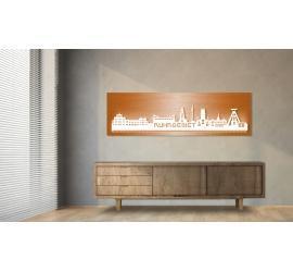 Ruhrgebiet beleuchtet Kupferoptik 100 x 25cm