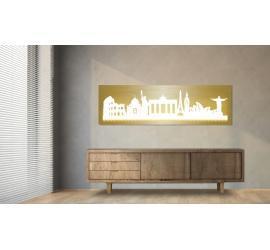 World beleuchtet Goldoptik 100 x 25cm
