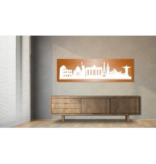 World beleuchtet Kupferoptik 100 x 25cm